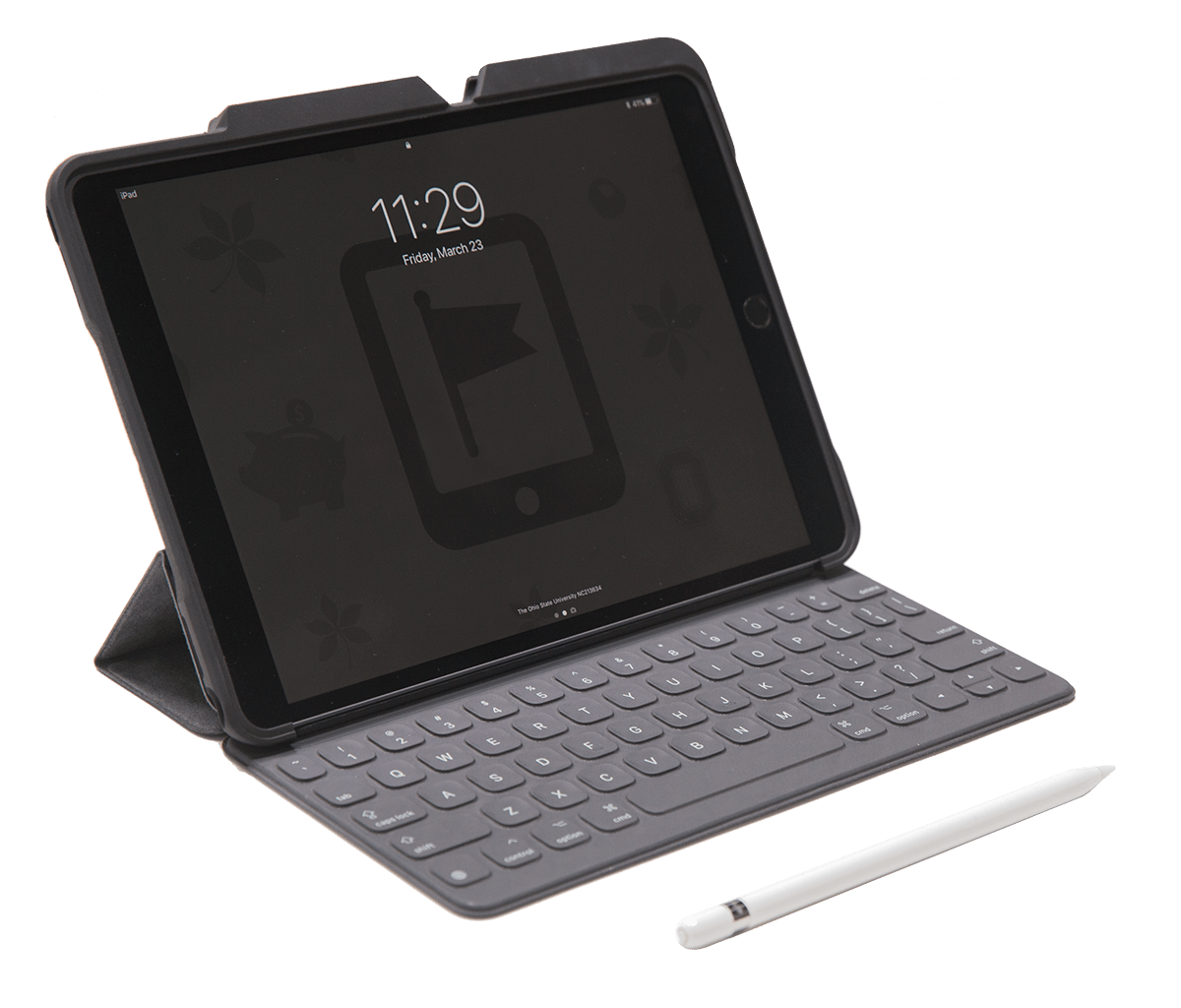 iPad Pro with a keyboard, case, and Apple Pencil.