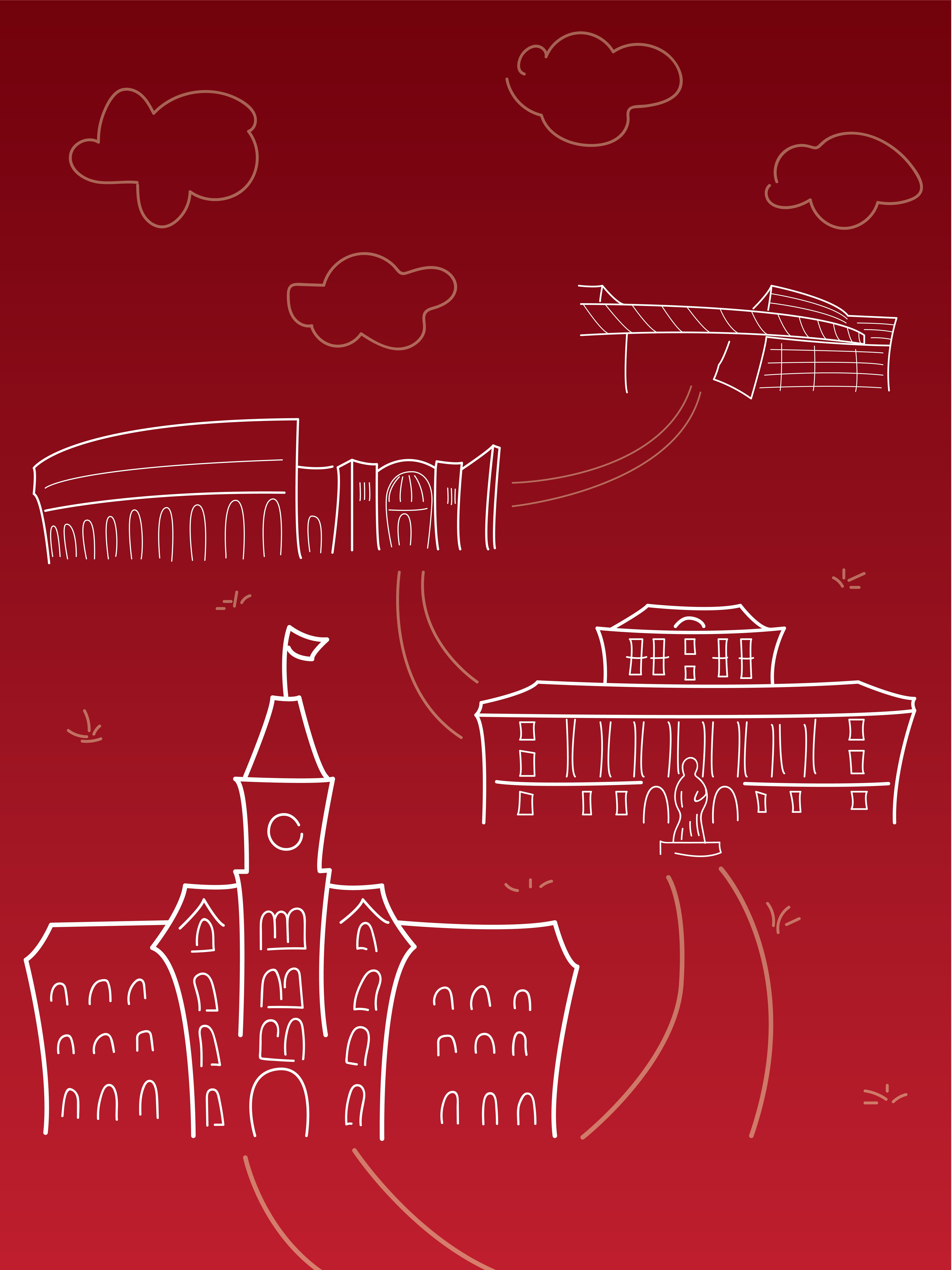 An illustration of various buildings on Campus.