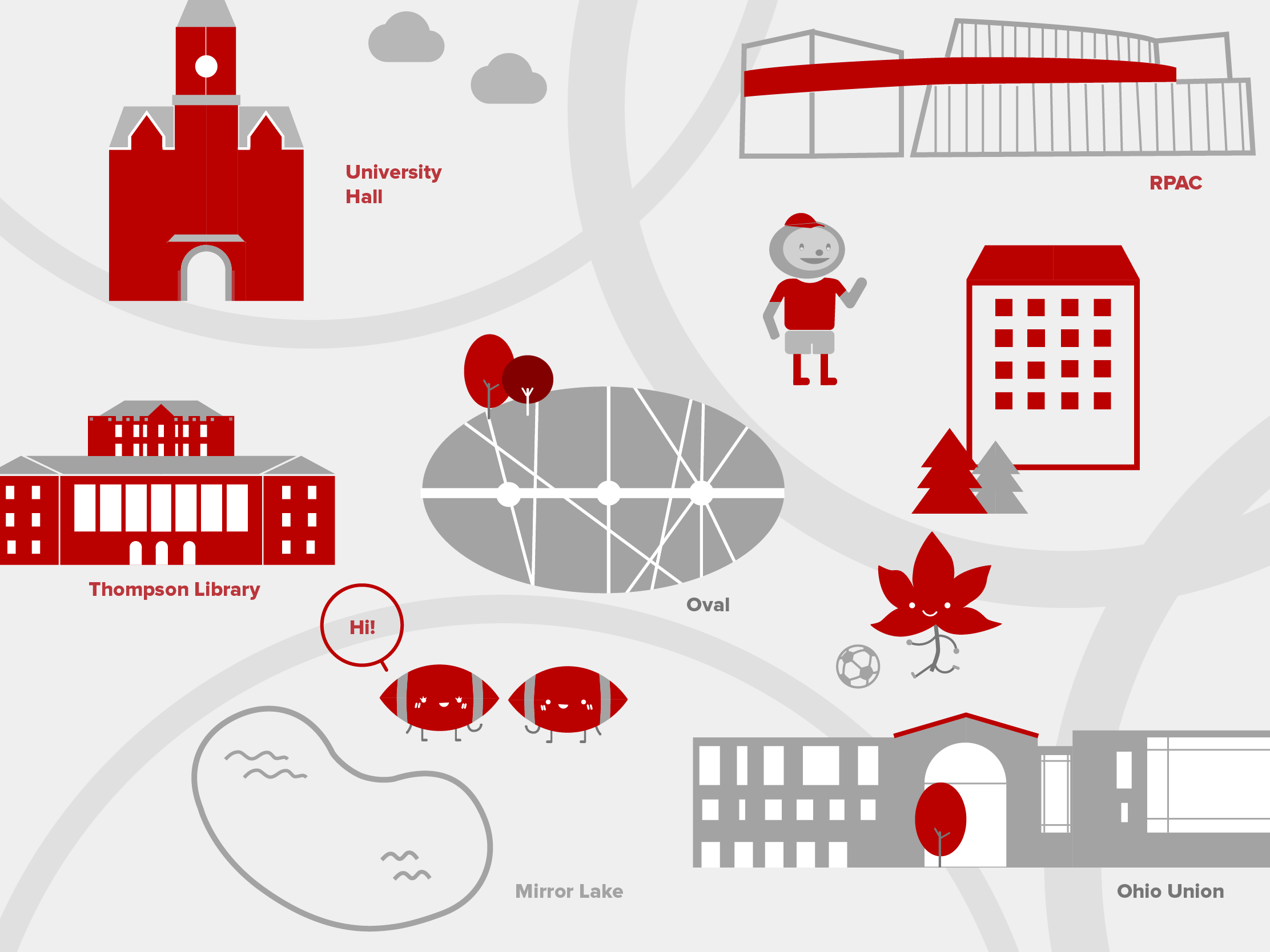 A scarlet and gray illustrated map of well-known buildings on the Columbus campus.