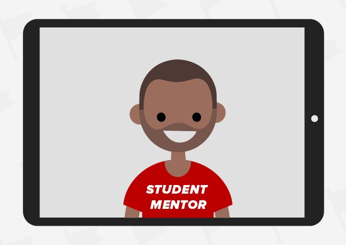 A graphic of a Student Mentor on the screen of an iPad.