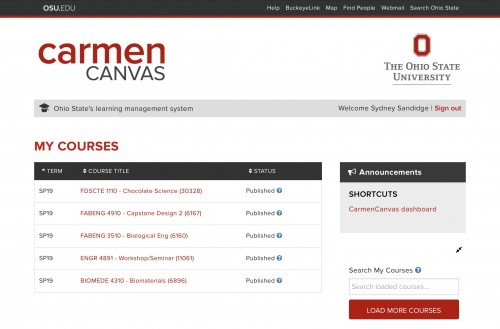 Homepage of carmen showing a list of courses to the right and settings to the left