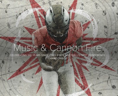 Illustration of an Ohio State football player behind the title for a webpage called Music and Cannon Fire.