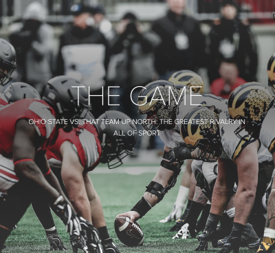 A photo of Ohio State and Michigan football players facing off behind the title of a webpage called The Game.